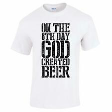 On the 8th Day God Created Beer Funny Fathers Day Mens Drinking T Shirt