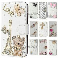 Bling Flip Crystal PU Leather Card Wallet Case Stand Cover Skin For Nokia Lumia