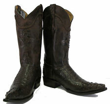 Men's Genuine Crocodile Alligator Exotic Head Cowboy Western Boots XXX Brown
