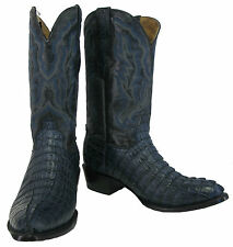 Men's Genuine Crocodile Alligator Exotic Tail Cowboy Western Boots R Toe Blue