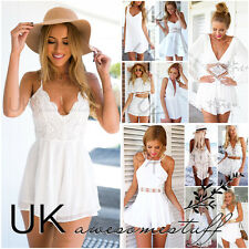 UK Womens Celeb Sexy Mini Playsuit White Jumpsuit Summer Shorts Beach Sun Dress