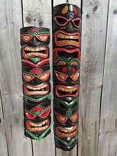 Fair Trade Hand Carved Made Wooden Triple Face Maori Tiki Mask Wall Art Plaque