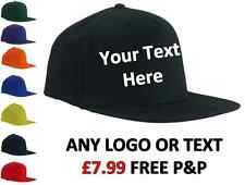 CUSTOM PRINTED PERSONALISED RAPPER BASEBALL CAP- 8 CAP COLOURS, ANY TEXT, LOGO