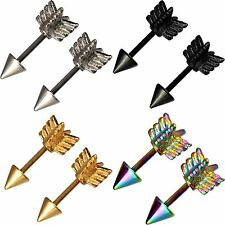 Straight Arrow Barbell Lip Labret Tragus Septum Helix Rook Top Ear Eyebrow Bar
