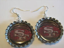 SAN FRANCISCO 49ERS BOTTLE CAP EARRINGS 1 PAIR HANDMADE FOOTBALL