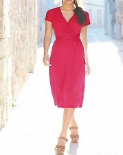 Marisota Hot Pink Mock Wrap Jersey Dress | Size 14 16 18 20 22 | WT0054