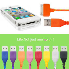 2M 3M Braided Fabric Micro USB Data Sync Charger Cable Cord Phone for iPhone4 4S