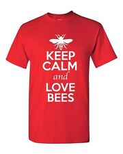 Keep Calm And Love Bees Insect Bugs Animal Lover Funny Humor Adult T-Shirt Tee
