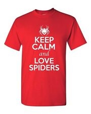 Keep Calm And Love Spiders Arachnids Animal Lover Funny Humor Adult T-Shirt Tee