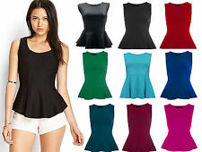 LADIES PEPLUM SLEEVELESS SKATER TOP WOMEN SKATER PEPLUM T-SHIRT VEST SIZE 8-14