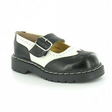 T.U.K. T1035 TUK  Ladies Anarchic Black White Leather Brogue Mary Jane Shoes