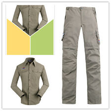 *Womens Quick Dry Outdoor Fishing Hiking Sunscreen Shirt + Pants Shorts Casual