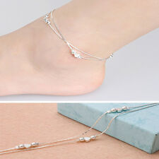 Simple Fashion Silver Plated Chain Anklet Bracelet Barefoot Beach Foot Jewelry