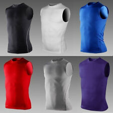 Men's Boys Body Armour Compression Baselayer Sleeveless Vest Thermal Under Top