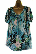 NEW EX EVANS BLUE GREEN PINK WHITE  BLOUSE TOP TUNIC 14 16 18 20 22/24 26/28