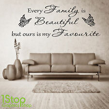 FAMILY BEAUTIFUL WALL STICKER QUOTE - BEDROOM LOUNGE WALL ART DECAL X385