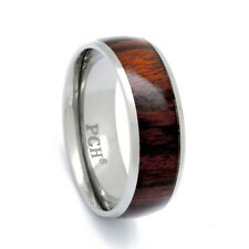 Men's Titanium Hawaiian Koa Wood Inlay Wedding Band Comfort Fit 8mm Ring