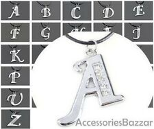 Silver Tone Initial Letter Crystal Leather Pendant Necklace -Black Cord-Chain