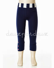 Deux Par Deux Girls Retro Chic Leggings Navy White