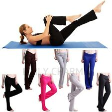 Women Sexy Foldover Waist Athletic Yoga Flare Leg Pants Workout Stretch Leggings