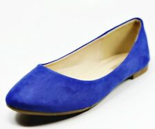 NEW Women Casual Suede Ballet Flat Shoes Size 6 - 10, (Royal Blue Color)