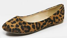NEW Women Casual Suede Ballet Flat Shoes Size 6 - 10, (Leopard Color)