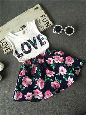 New Baby Girls Clothing Set White Love T-Shirt + Floral Skirt 2 Pcs/Outfit Suit