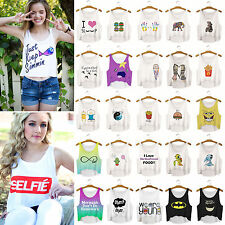 Mujeres Chicas Cartoon Emoji estampado Chaleco blusa cosecha Casual camiseta Top