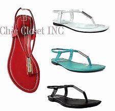 Women Gladiator T-Strap Thong Sandals Color BIG Size Strap Shoes Low Flat Heels