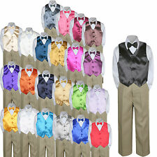 Color Choice 4pc Vest Bow Tie Boy Suit Khaki Set Baby Toddler Kid Formal sz S-7