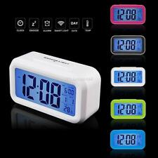 Digital LED Snooze Electronic Alarm Clock Backlight Time Calendar Thermometer