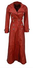 Ladies Real Red Nappa Sheep Lambs Leather Steampunk Goth Style Trench Coat - T11