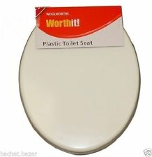 Woolworths Strong Plastic Bathrom White Toilet Seat Durable Standard Fitting