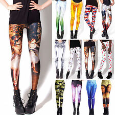 Punk Sexy Women Digital Graphic Printed Stretchy Skinny  Pencil Leggings Pants