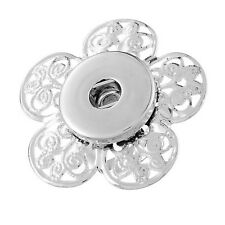 Wholesale Lots Hollow Flower Adjustable Ring Fit Snap Buttons Size 8