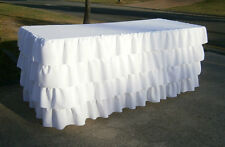 WHITE 4 Tier Table Skirt Cotton - Ruffle Layered Complete Table Cover