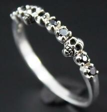 925 STERLING SILVER SKULL RING BLACK STONE WOMEN ROCK GOTHIC JEWELRY ALL SIZE