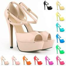 WOMENS LADIES' PEEP TOE STRAPPY PLATFORM STILETTO HIGH HEEL SANDAL SHOES US 4-11