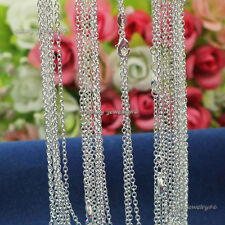 """Wholesale 10pcs 2mm 925 Solid Sterling Silver Plated """"O"""" Chain Necklace 16""""-30"""""""