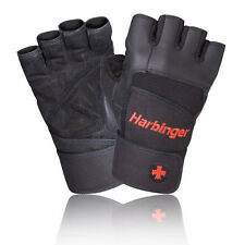 Harbinger Pro Unisex Black Weightlifting Training Sports Gym Wristwrap Gloves