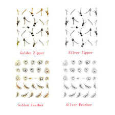 Cute Nail Art Peacock Feather Zip Stickers Manicure Water Transfers Decal
