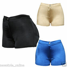 New Ladies Black Blue Gold Sexy Hot Pants Stretchy Skinny Fit Shorts Size 8-16