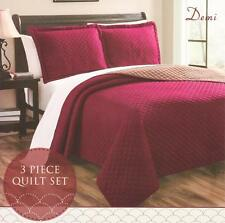 New! Demi 3 Pc Reversible Bedspread Quilt Set Size Queen/ King Burgundy Taupe