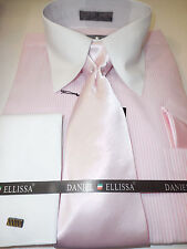 Dress Shirt For Men: Pink Thin White Stripe Solid White French Cuff & Collar