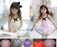 Girls Party Fairy Ballet Costume Tutu Kids Dance Body Leotard Skirt Dress SZ 3-8