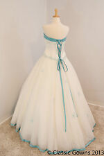 New Alfred Angelo Ivory Tulle Ballgown Style Wedding Gown - Pool Blue Trim- Sz 6