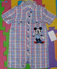 @Disney Store Mickey Mouse Woven Plaid One-Piece Short Sleeve Romper@NWT!!