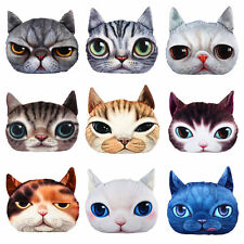3D Cute Cat Face Pure Throw Pillow Stuffed Plush Decor Cushion Toy Doll GF Gift