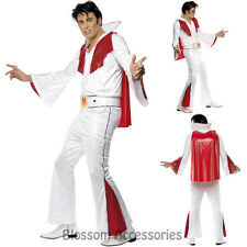 CL470 Elvis Presley Red Flare Rock & Roll 50s Mens Adult Fancy Dress Costume
