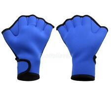 Water Gear Neoprene Webbed Gloves Swimming Hand Aqua Training Paddles Blue S/M/L